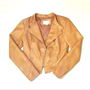 Xhilaration Brown Fake Leather Utility Zip Jacket